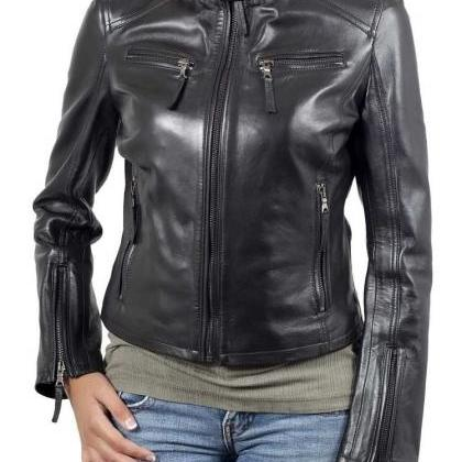 New Women's Motorcycle Fashion Blac..