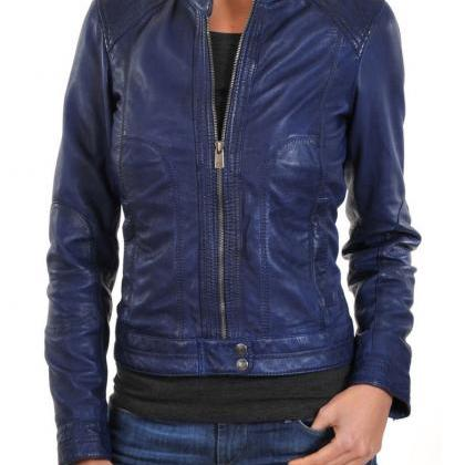 New Women's Navy Blue Leather Motor..