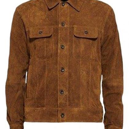 Men's New Brown Suede Leather Jacke..