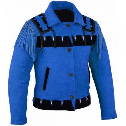 New WOMEN Blue Western Leather Indi..