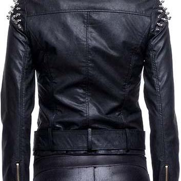 New Women Studded Black Leather jac..