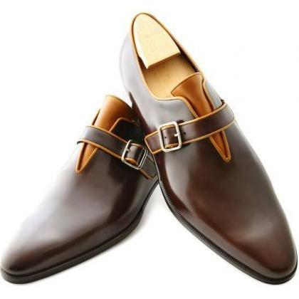 New Handmade Mens brown leather mon..