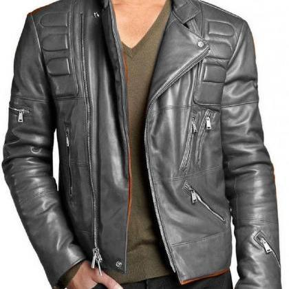 New Men Leather Jacket Black New Sl..