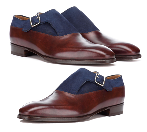 Handmade Monk Strap Buckle Type Burgundy Blue Two Tone Leather Boots Men's