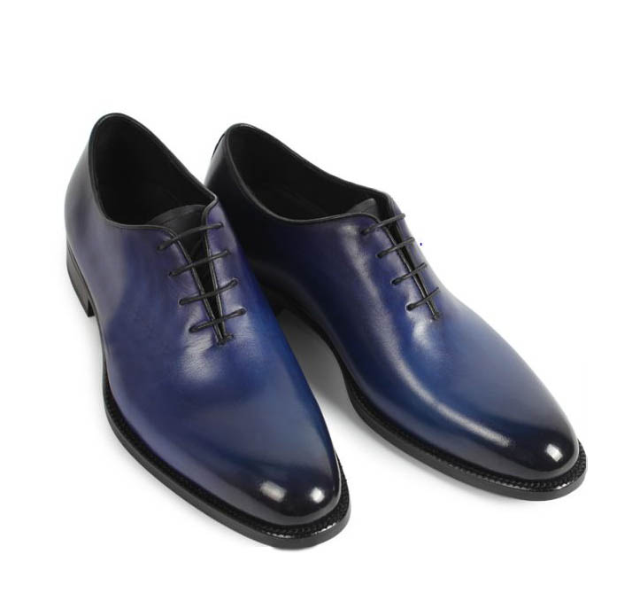 Handmade Luxury Mens Goodyear Welted Shoes Elegant Navy Oxfords Shoes Leather Mens Suits Shoes