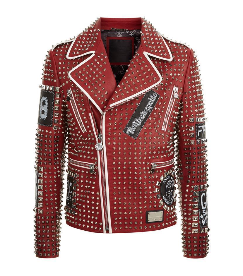 MEN'S RED STUDDED PUNK ROCK EMBROIDERY PATCHES LEATHER COAT JACKET