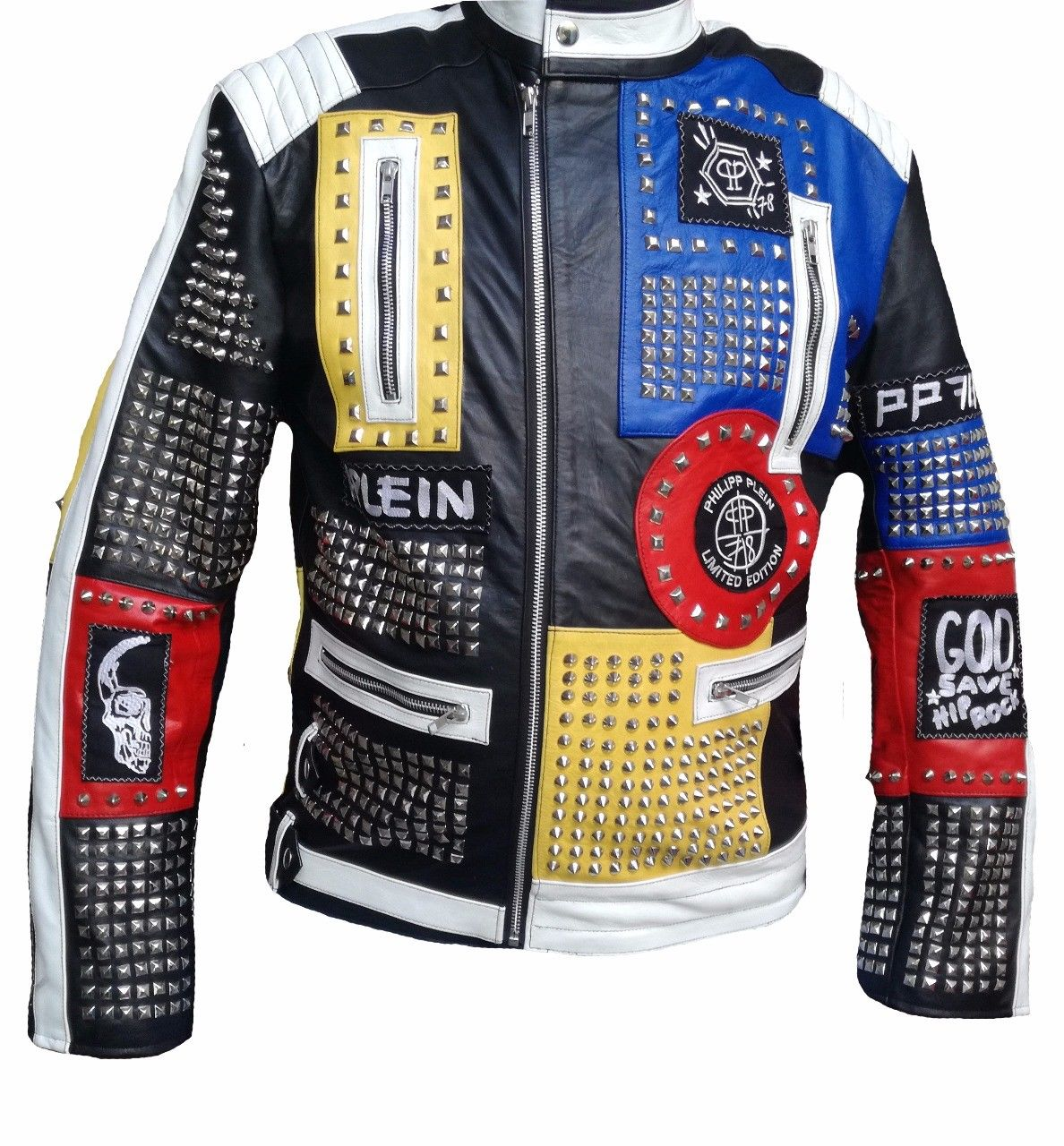 MEN ROCK PUNK MULTICOLOR STUDDED EMBROIDERY PATCHES LEATHER COAT JACKET