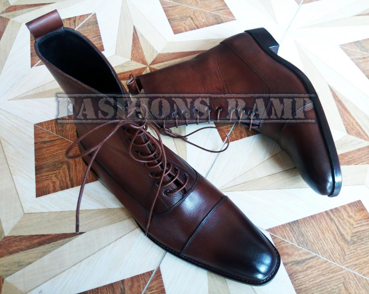 Handmade Ankle High Cap Toe Leather Boots Men, Brown Chelsea Dress Formal Boots