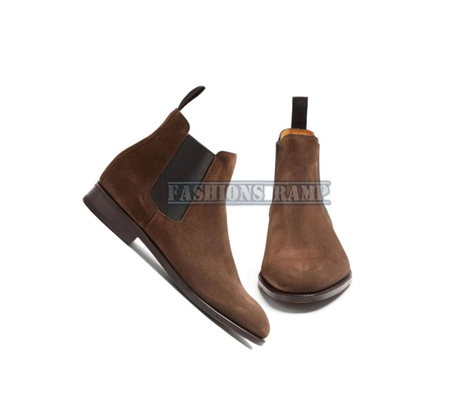 Handmade Chelsea Suede Leather Boots. Men Formal Dress Formal Boots