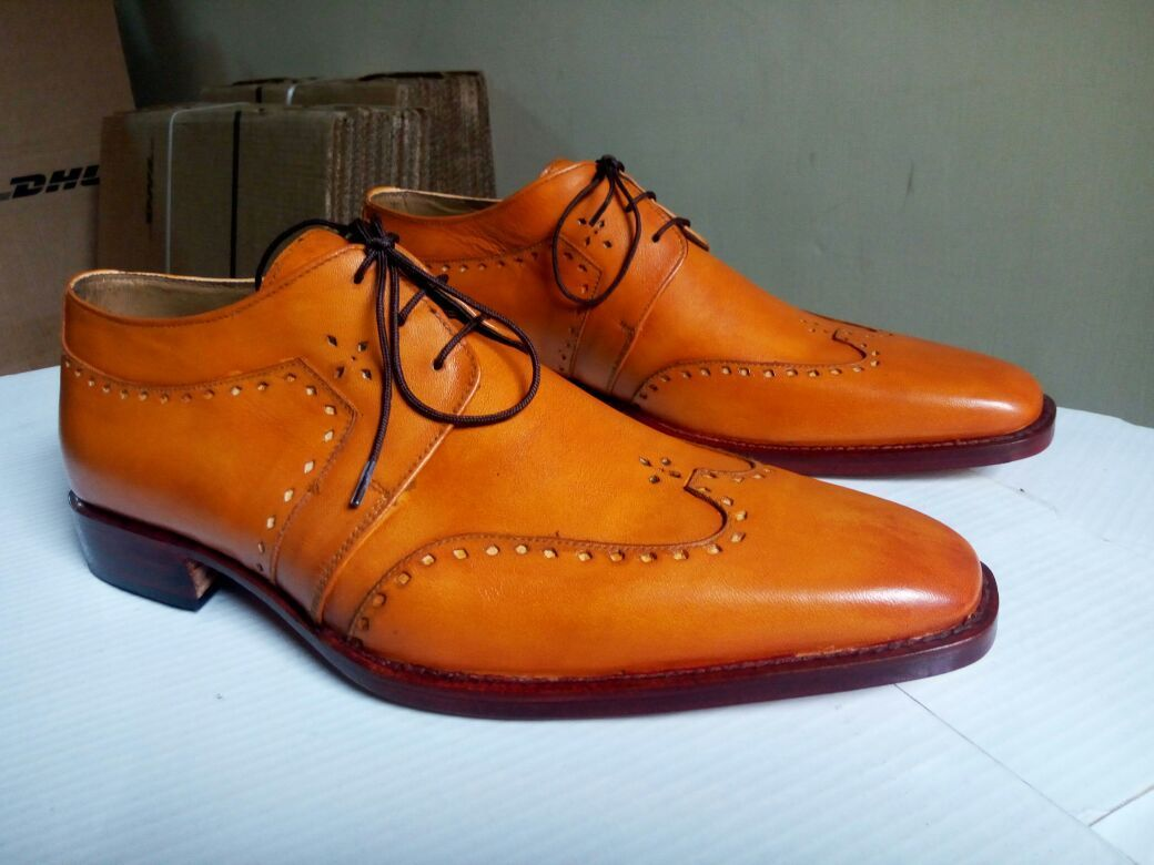Handmade Luxury Men's Tan Oxford Leather Formal Dress Shoes