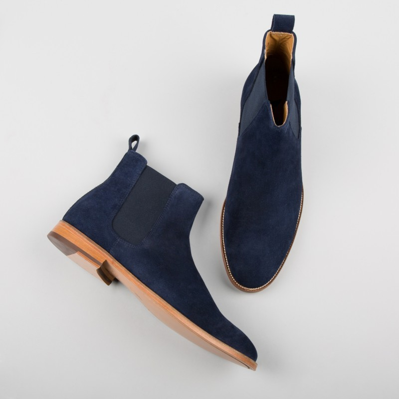 New Handmade Men Navy Blue Chelsea Dress Forma Suede Boots