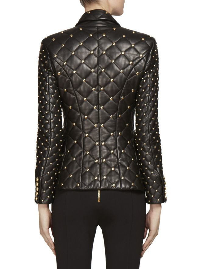 1d28f8a8 New Handmade Woman Golden Balmain Studded Quilted Cowhide Leather Coat on  Luulla