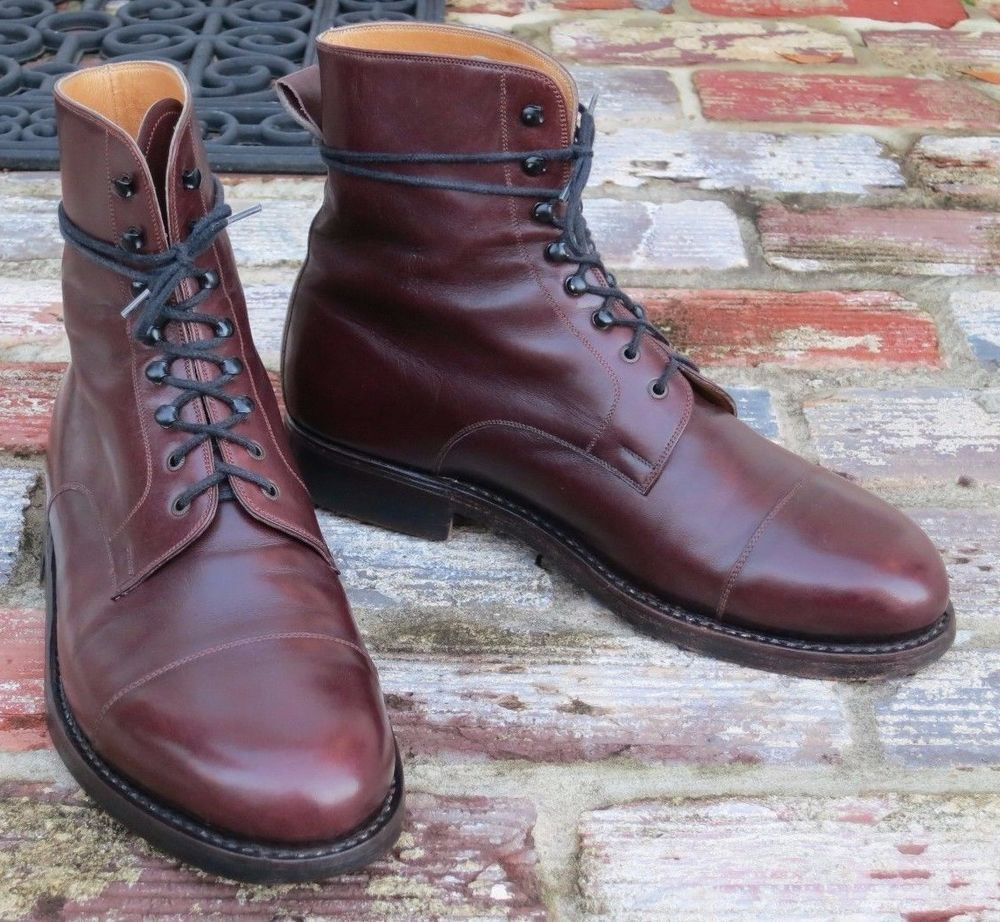 9af018ca949e Handmade Men Cap Toe Burgundy Lace Up Ankle High Leather Boots on Luulla