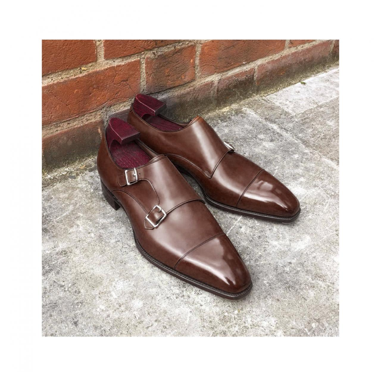 Men's Brown Monk Shoes, Genuine Leather Dress Shoes, Handmade Brown Shoes