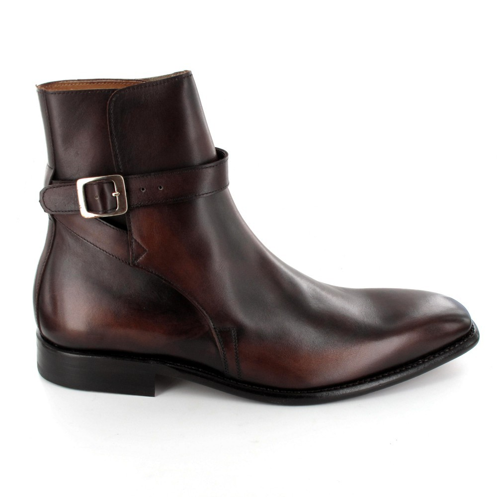 Hand panted Painted brown Jodhpurs Boots, Handmade Ankle High Boots, Men Dress Buckle Boot