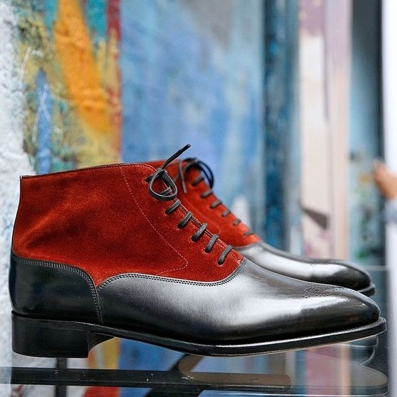 Handmade Men's Two Tone Red Black Boots Men Lace Suede and Leather Dress Boots