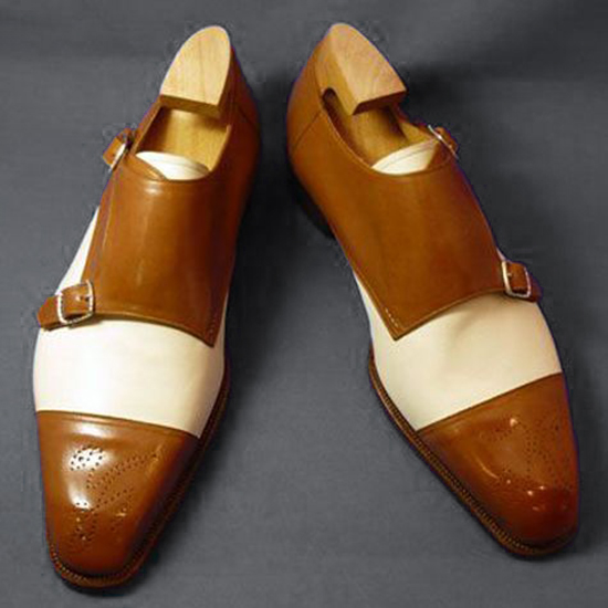 Handmade Menes Brown and White Shoes, Double Monk Buckle Shoe, Formal Monk Shoes