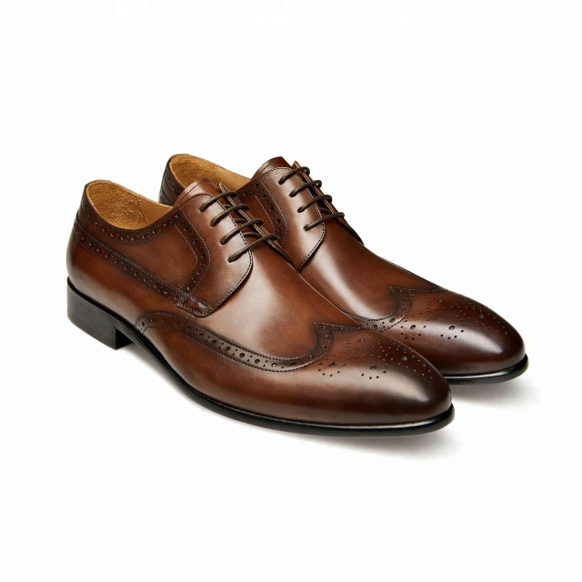 Handmade Brown Color Leather Shoes, Men's Lace Up Wing Tip Brogue Formal Shoes