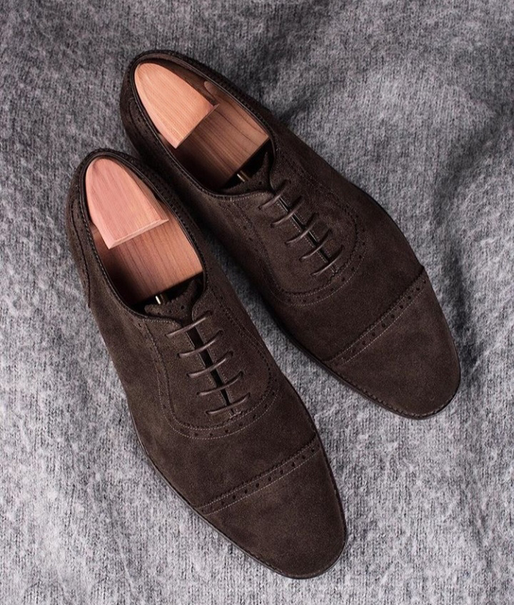 Handmade Dark Brown Color Suede Shoes, Men's Lace Up Cap Toe Formal Shoes