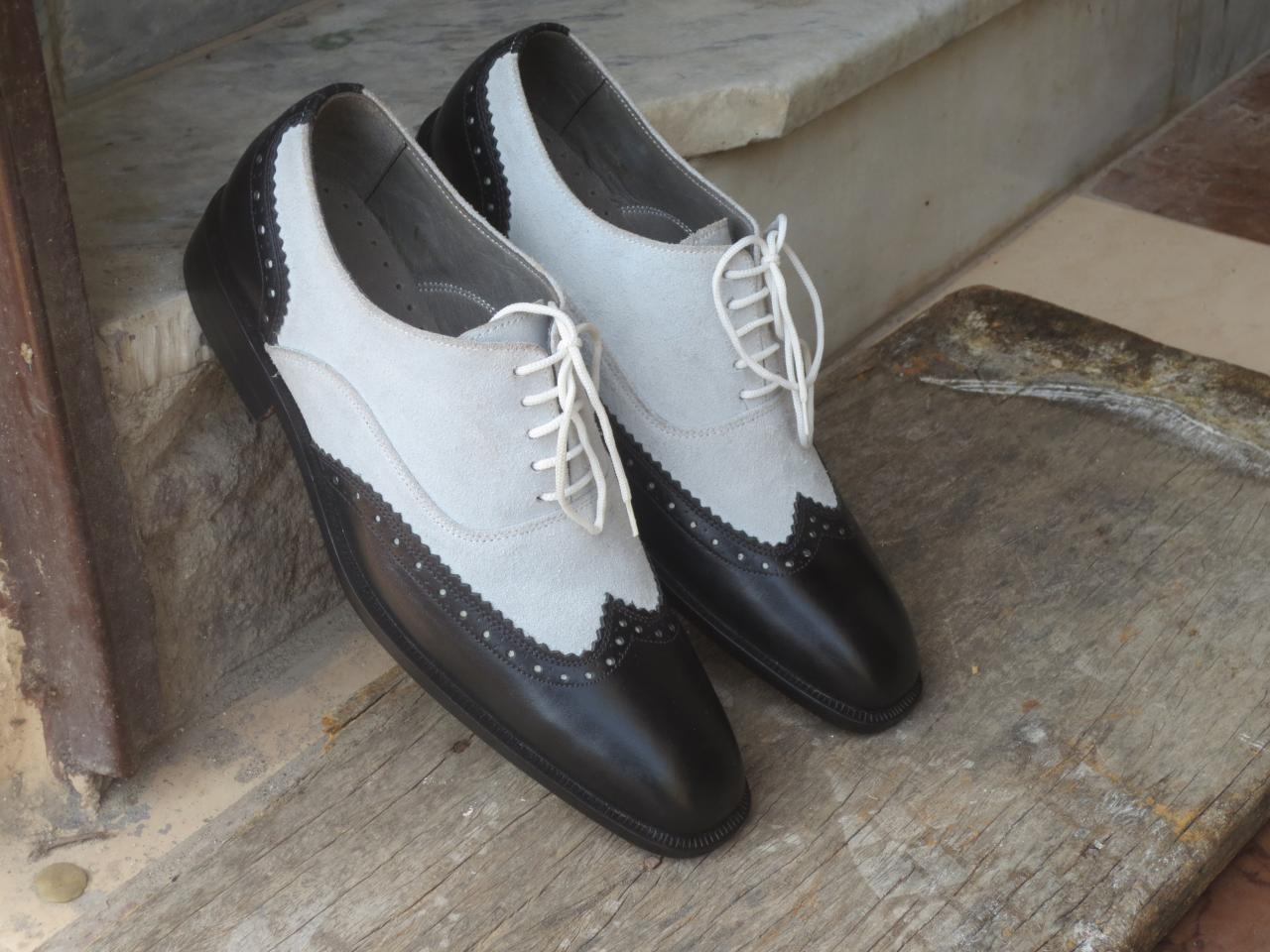 Handmade White Black Leather Suede Shoes, Men's Lace Up Wing Tip Formal Shoes
