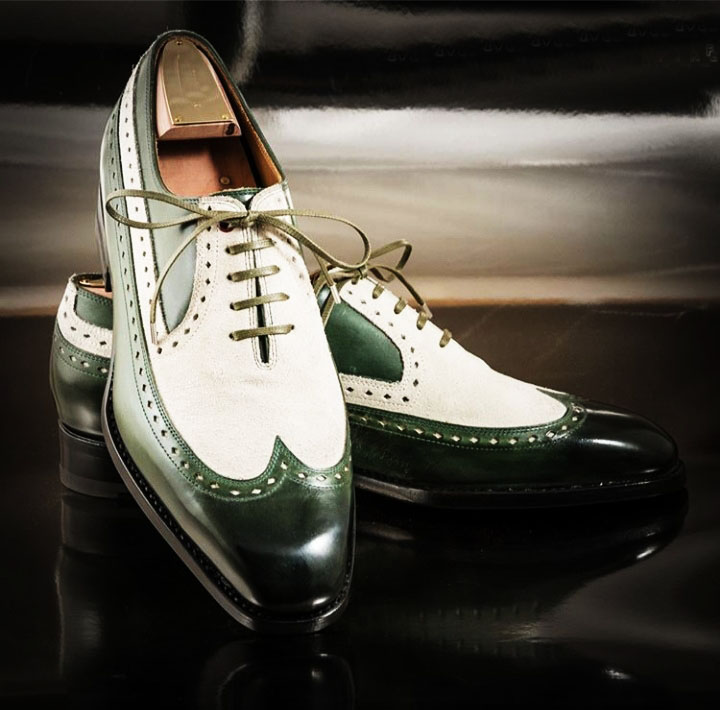 Handmade Green White Leather Shoes, Men's Lace Up Wing Tip Designing Shoes