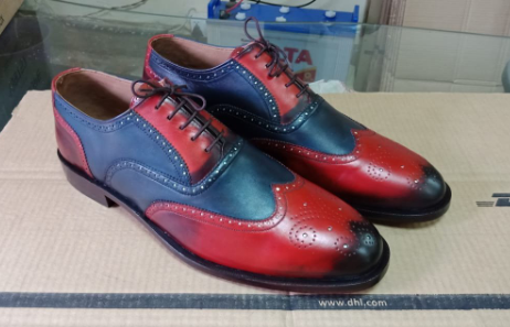 Handmade New Navy Blue Red Color Leather Shoes, Men's Lace Up Wing Tip Brogue Formal Shoes
