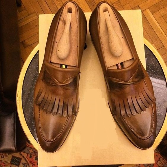 Handmade Brown Color Fringe Real Leather Loafers Shoes Men Formal Dress Shoes