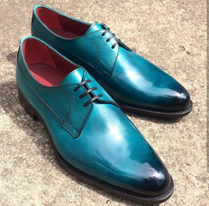 Handmade 2 Tone Firozi Color Leather Casual Shoes, Men's Lace Up Derby Dress Shoes