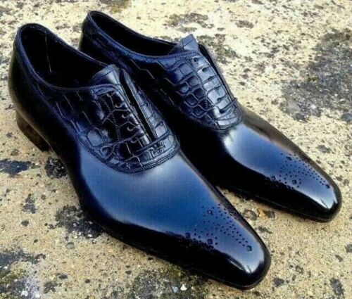 Handmade Black Alligator Leather Casual Shoes, Men's Lace Up Brogue Shoes