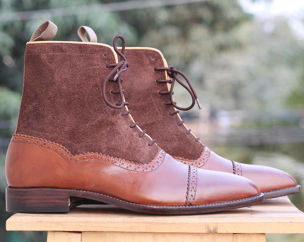Handmade Men's Ankle High Brown Boots,Suede Leather Cap Toe Boots