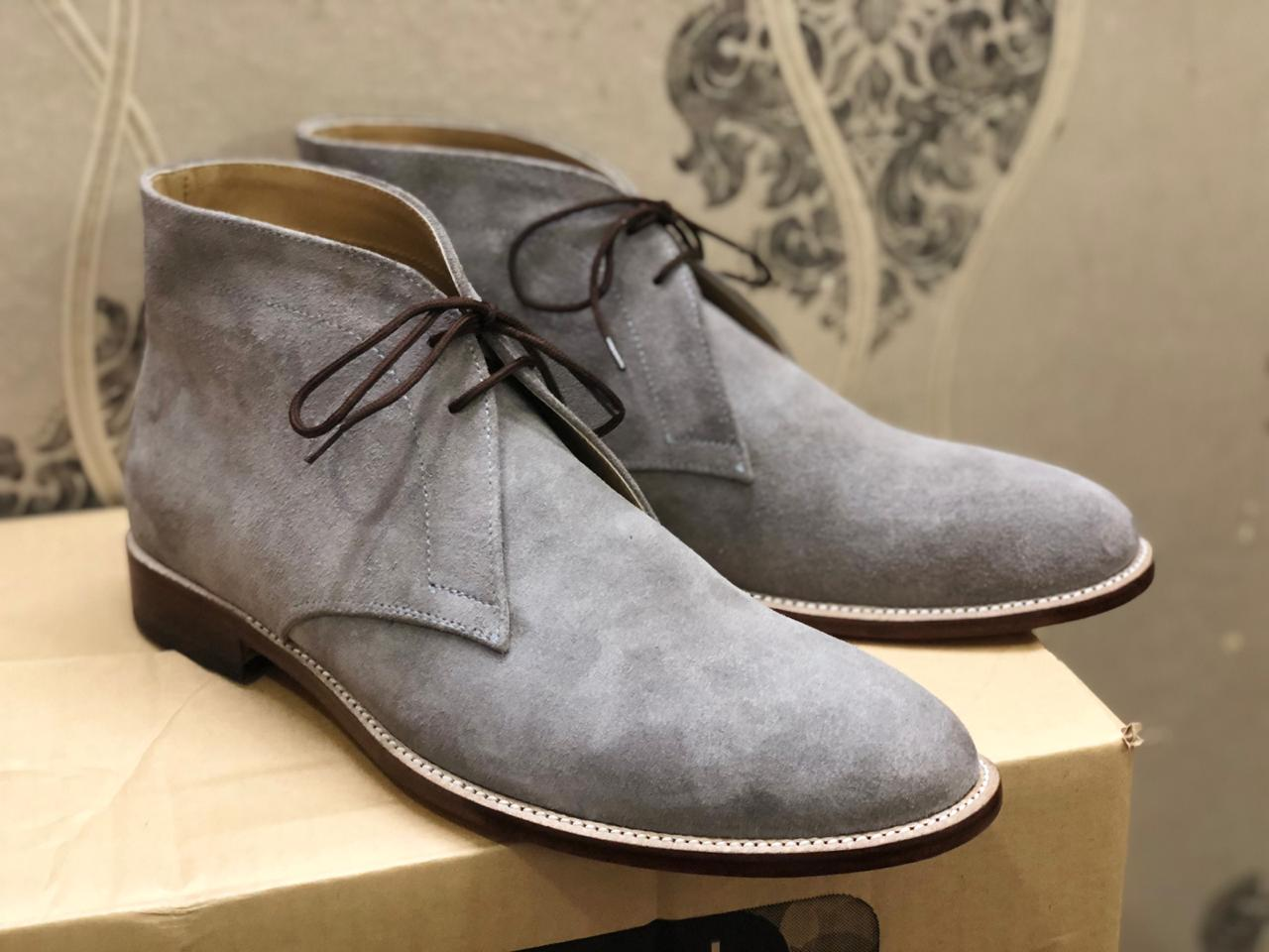Handmade Men's Half Ankle Gray Suede Lace Up Boot For Men's