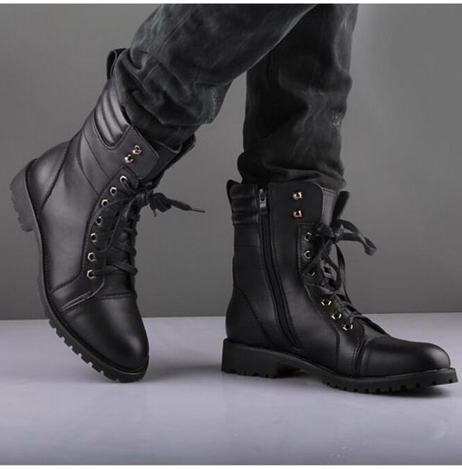 Men's Handmade Black Cap Toe Ankle High Leather Lace Up & Side Zipper Boot