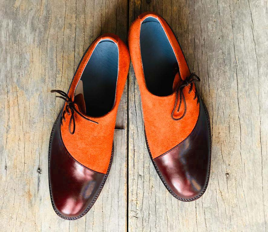 Men's Handmade Stylish Tan & Burgundy Leather Suede Lace Up Shoes For Men's