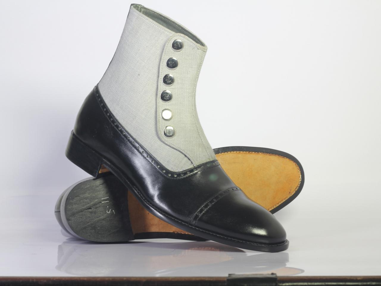 Handmade Men's Ankle high Black White Leather & Denim Button Top Boots