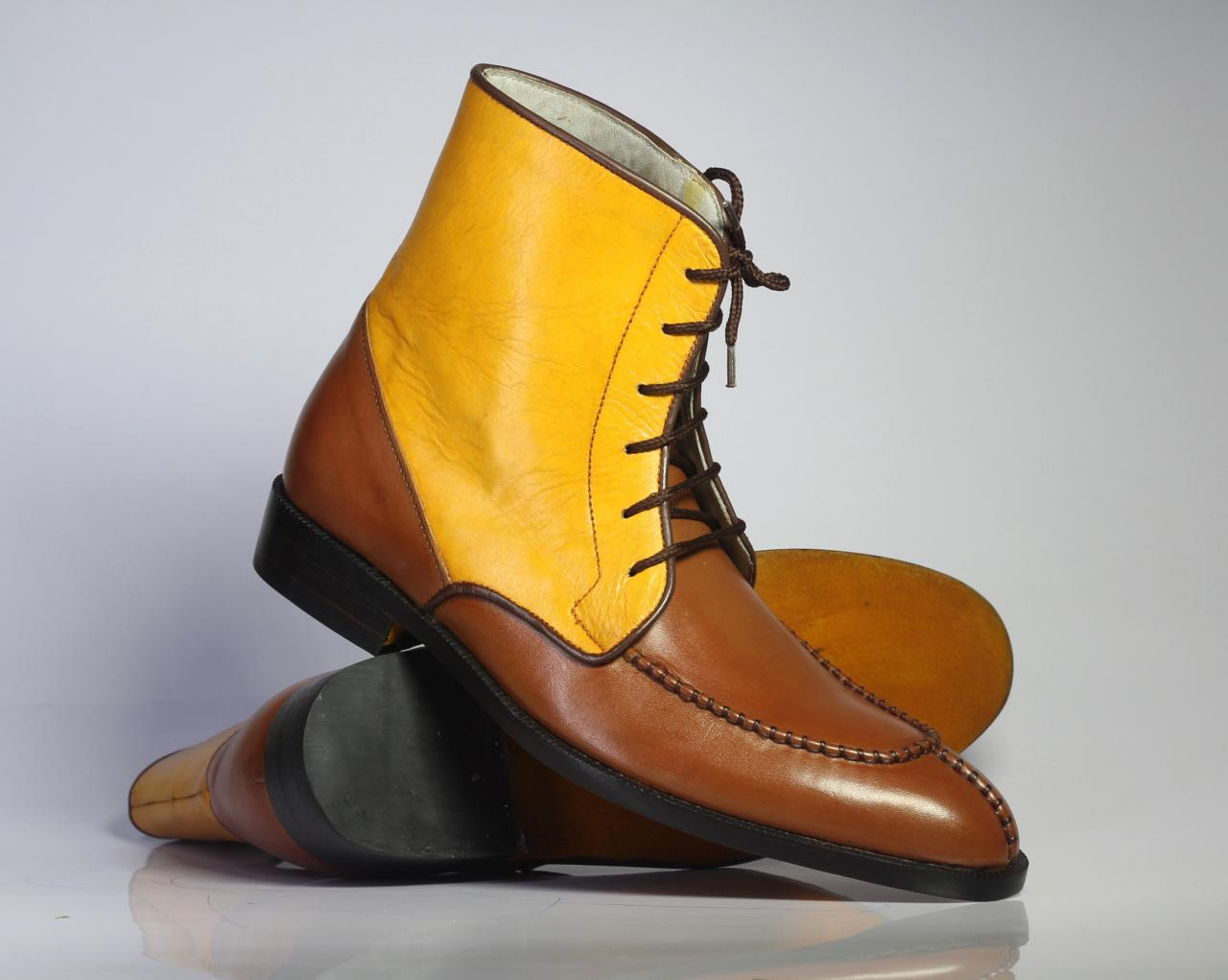 Handmade Ankle High Brown & Yellow Split Toe Leather Lace Up Boots For Men's