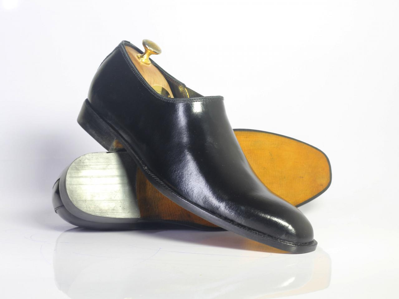 Handmade Black Half Chelsea Leather Men's For Shoes