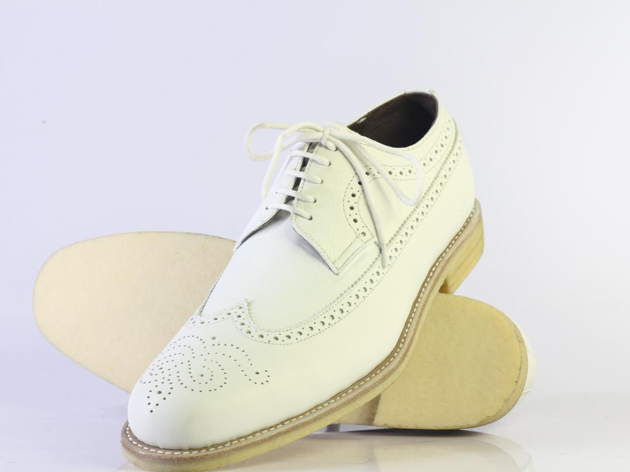 Men's Oxford White Genuine Leather Wing Tip Brogue Handmade Shoes For Men