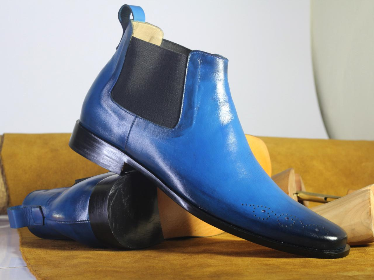 Handmade Half Ankle Blue Boots,Chelsea Leather Boot For Men's