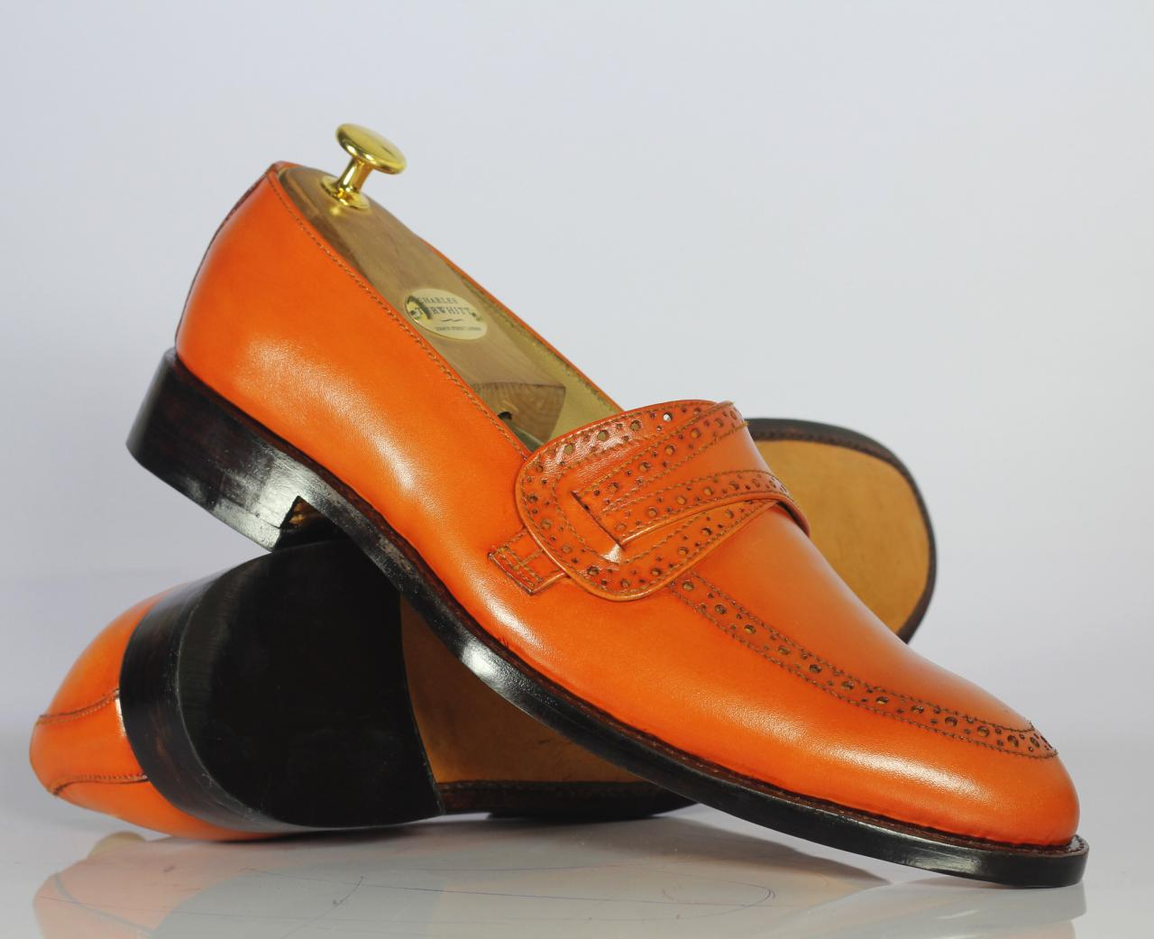Handmade Men's Stylish Tan Leather Penny Loafers Shoes