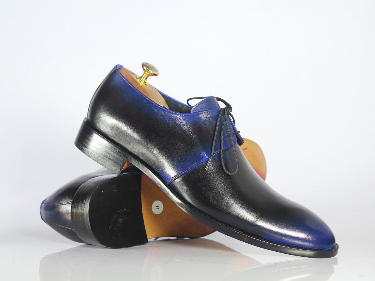Handmade Black Blue Leather Shoes, Men's Lace Up Dress Shoes