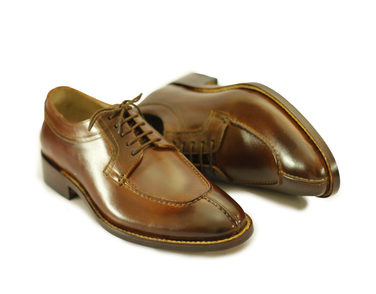 Men's Handmade Brown Split Toe Leather Lace Up Shoes For Men's