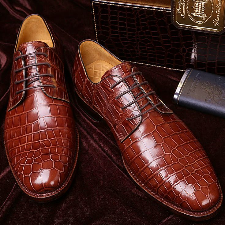 Handmade Brown Alligator Leather Casual Shoes, Men's Lace Up Brogue Shoes