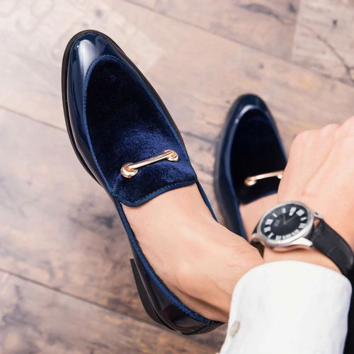 Handmade Blue Leather & Velvet Shoes, Men's Penny Loafers Moccasin Dress Shoes