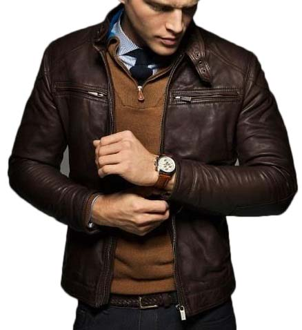 Men's Slim Fit Chocolate Brown Fashion Leather Jacket