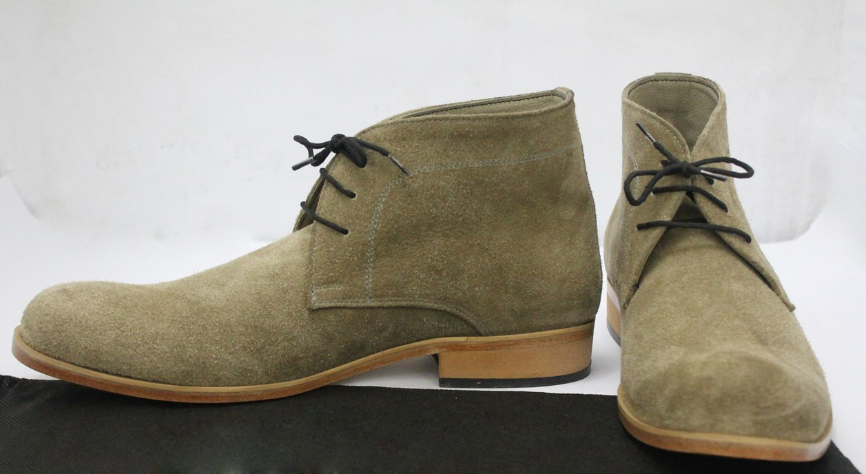 Handmade Mens Olive Green Chelsea Suede Leather Boots Men