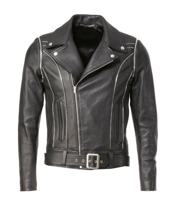 YSL BLACK CLASSIC OFF CENTER LEATHER JACKET - Limited Quantity