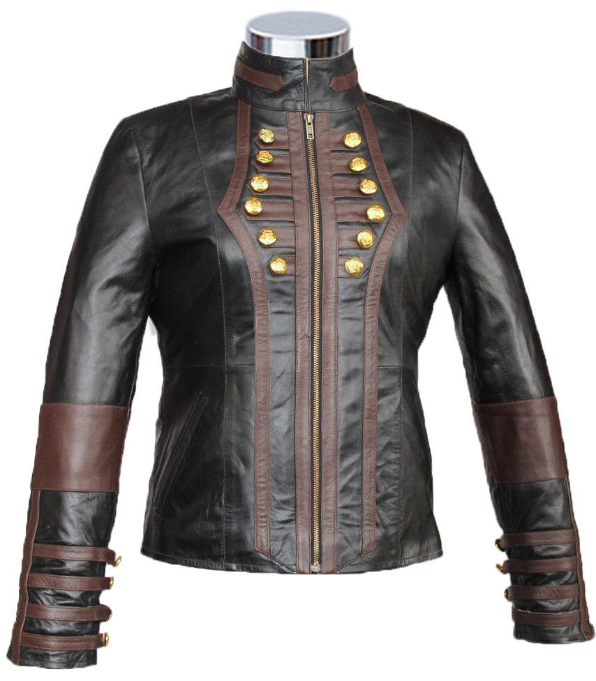 Military Women Black with Brown Strips Military Biker Leather Jacket