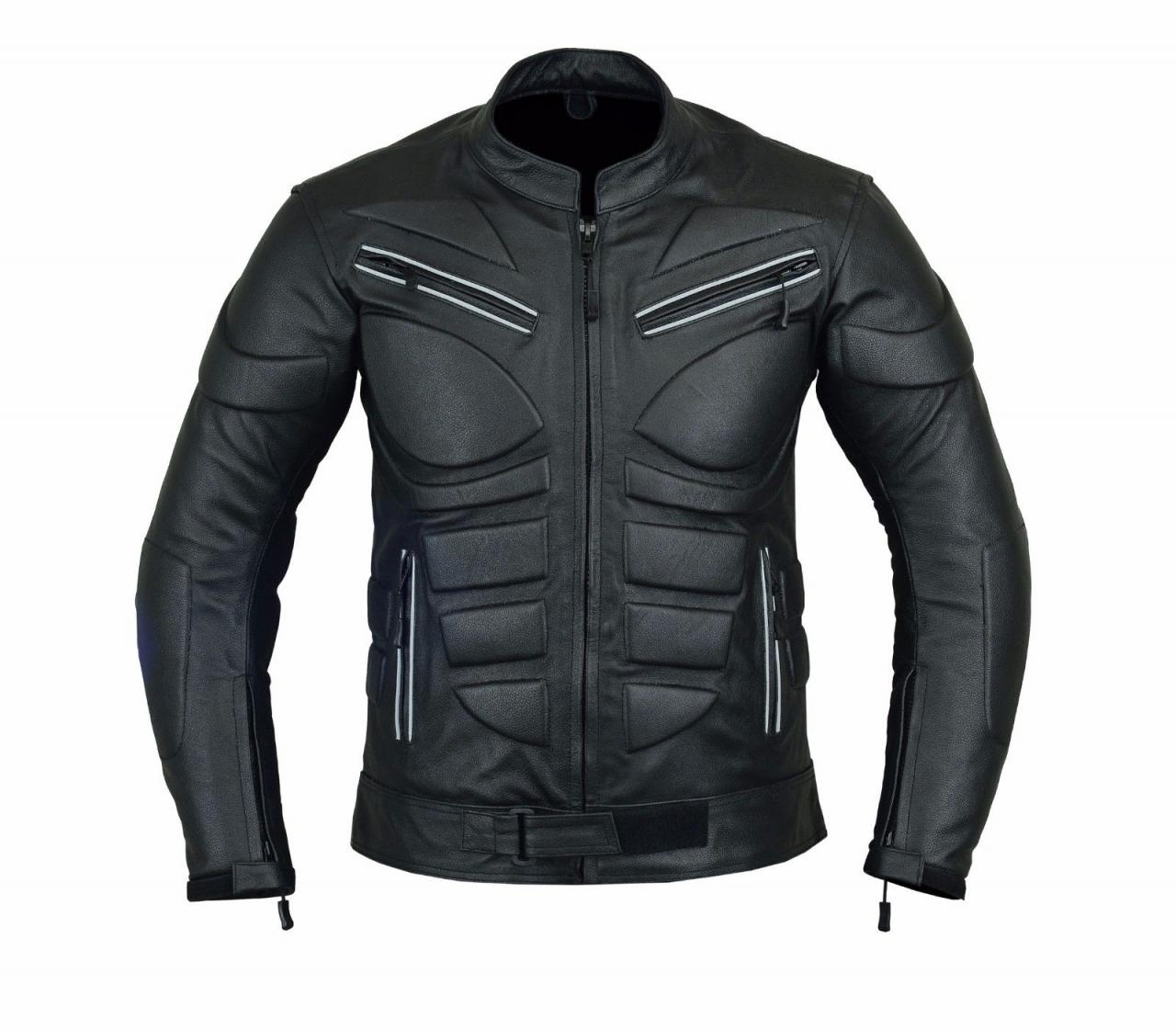 New Men's Leather Jacket Black Slim Fit Biker Motorcycle, MEN LEATHER JACKET