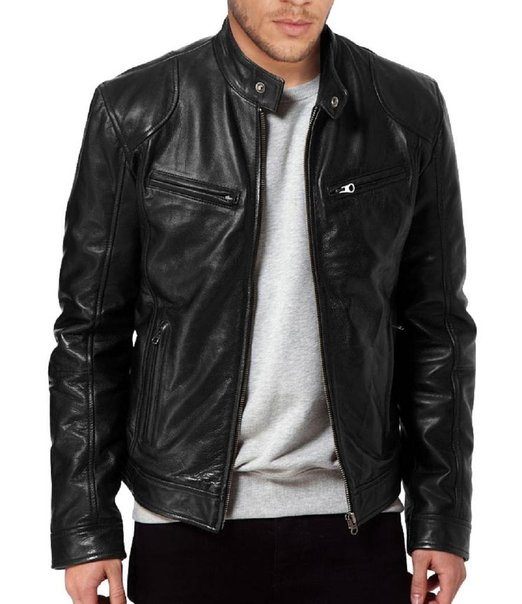 b753004e3 Men's SWORD Black Genuine Lambskin Leather Biker Jacket, Mens Leather Jacket