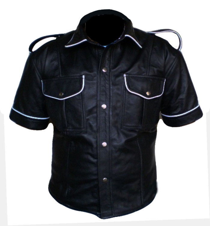 Slim Fit Black Flap pocket Leather Shirt Jacket Men